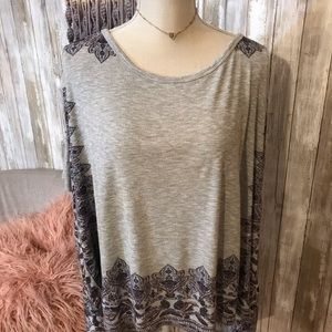 Free people grey print poncho S